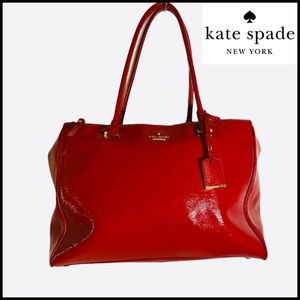 KATE SPADE RED 100% PATENT LEATHER LARGE SATCHEL